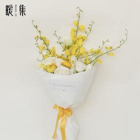 【羽毛】跳舞兰白色桔梗黄白色系鲜花花束
