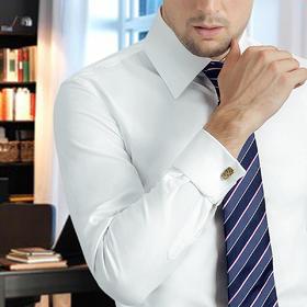 Eabr夏季男士斜织纯色方领法式/英式免烫衬衫