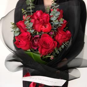 【情歌、情书】红玫瑰尤加利叶鲜花花束