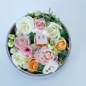 【暖暖】粉雪山白玫瑰创意鲜花花盒礼品