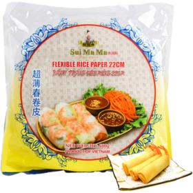 水妈妈牌超薄春卷皮 生食寿司春卷食材 越南原装进口米纸饼皮500g 送番茄酱3袋 多买多送 约75张