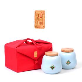 纳福布袋双瓷罐茶叶包装盒16套/件