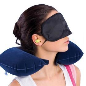 旅行三宝套装旅游三宝三件套充气U型枕遮光眼罩耳塞三件套