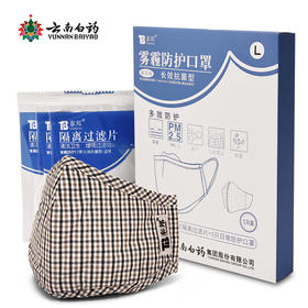 云南白药泰邦口罩雾霾长效防护型 格子1只盒装(赠3只隔离片+3只日常防护口罩)