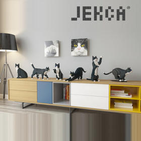 JEKCA积卡警长礼服猫暹罗东奇尼猫小颗粒拼装积木仿真猫咪礼品