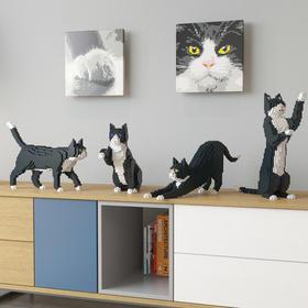 JEKCA积卡小颗粒积木仿真猫咪模型宠物用品玩具创意情侣春节礼品