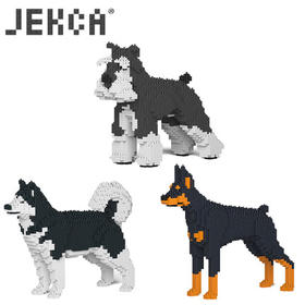 JEKCA积卡仿真狗雪纳瑞杜宾阿拉斯加犬颗粒积木宠物用品成人积木