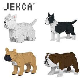 JEKCA积卡英国牛头西高地白梗法国斗牛犬微颗粒积木宠物玩具摆件