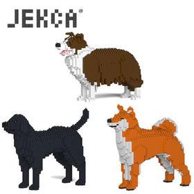 JEKCA积卡拉布拉多边境牧羊柴犬拼插积木儿童生日礼物玩具摆件