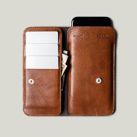 Hardgraft 手工牛皮iPhone 7/8/Plus/X手机钱包 | 褐色(英国)