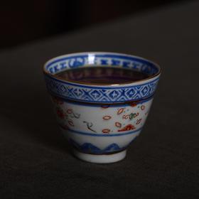 景德镇经典怀旧青花玲珑品茗杯老酒杯茶杯
