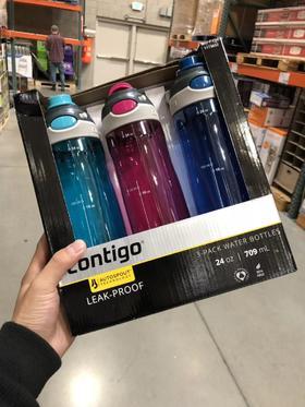 美国直邮 Contigo康迪克防漏水壶成人运动水杯三个裝 709ml