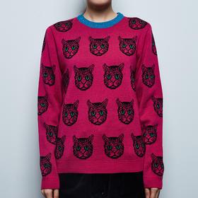 玫红小猫头毛衣