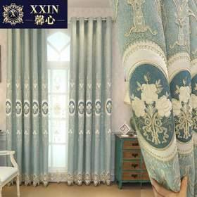 定制美式欧式雪尼尔贴布绣花遮光韩式窗帘布卧室客厅成品窗帘窗纱
