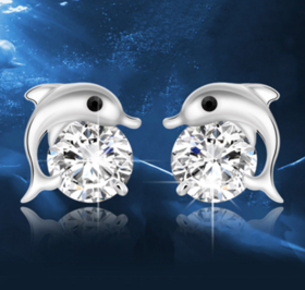 海豚银耳钉 【N】标准925纯银 精致奥地利锆石 海豚银耳钉