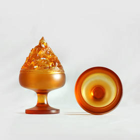 【赠归藏小盘香一盒】琥珀色高足琉璃博山炉(半染秋山)