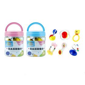 谷雨婴儿牙胶摇铃床铃套装0-1岁 粉/蓝盖 随机发货 6只装