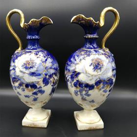 【菲集】1890年经典英式深蓝色花瓶 瓷器桌面摆件 艺术品轻古董收藏品