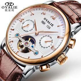 欧亚利(OYALIE)手表男士机械表 全自动时尚手表18K金镂空真皮表带商务男表
