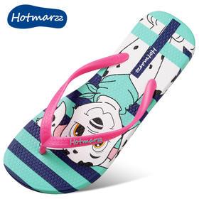 hotmarzz黑玛夏季卡通女款人字拖鞋女平底防滑夹趾女凉拖沙滩鞋