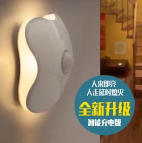 【人来即亮 无需摸黑】自动人体感应灯,可移动led小夜灯, USB充电  热卖