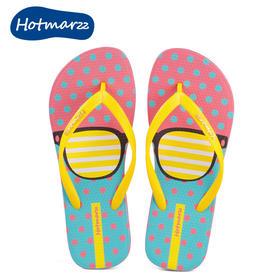 hotmarzz黑玛3D不对称粉色人字拖鞋女平底防滑夹趾女凉拖沙滩鞋
