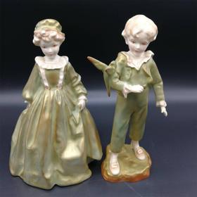 【菲集】1930年皇家伍斯特瓷厂制造 男孩女孩人物雕像 陶瓷制品 艺术品 跨境直邮