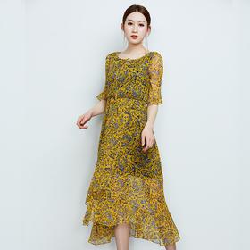 时尚印花真丝连衣裙
