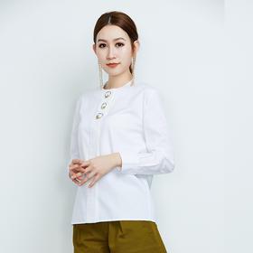 纯棉长袖白色圆环扣衬衫