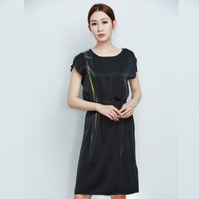 真丝抽象定位印花连衣裙