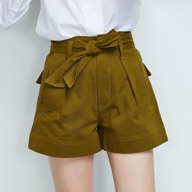 纯棉高腰打褶短裤