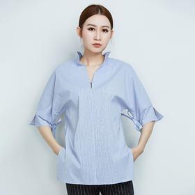 宽松五分袖条纹衬衫