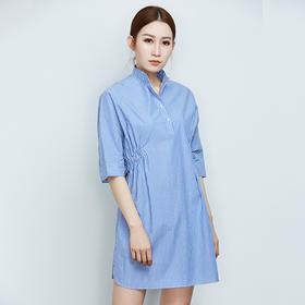 纯棉条纹衬衫连衣裙