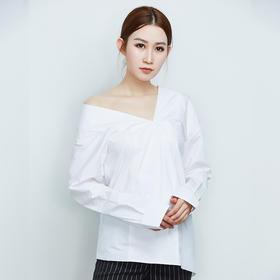 纯棉长袖白色露肩衬衫