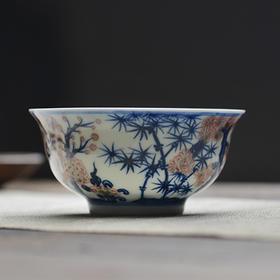 长物居 手绘青花釉里红松竹梅纹小茶碗茶杯