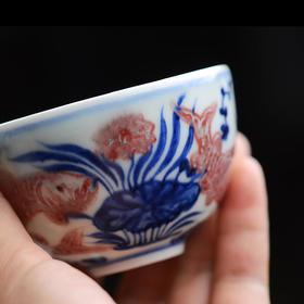 长物居 手绘青花釉里红鱼藻纹小杯