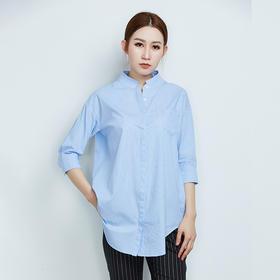 纯棉五分袖条纹休闲衬衫