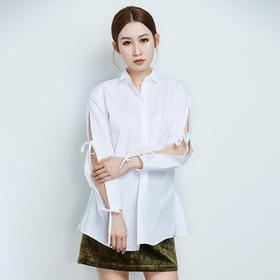 纯棉长袖白色抽绳衬衫