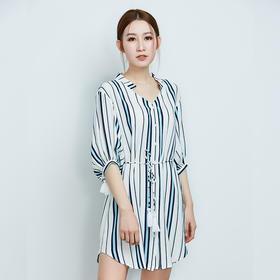 宽松显瘦蓝白条纹连衣裙