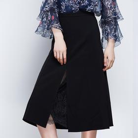 时尚蕾丝层叠开叉半裙