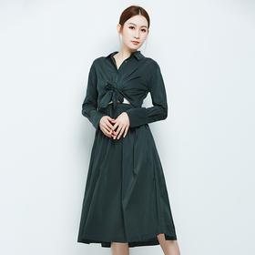 腰部系带衬衫连衣裙