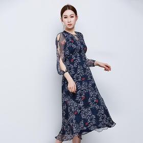 真丝印花领口系带长款连衣裙
