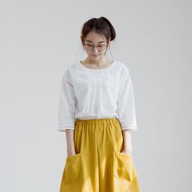 文艺简约纯棉镂空花边小衫条纹五分袖T恤