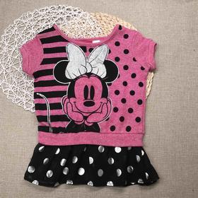 迪士尼针织雪纺短袖裙