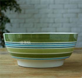 外贸陶瓷 英伦乡村风 绿色条纹 大碗 沙拉碗 面碗 冒菜碗 蔬果碗 满包邮