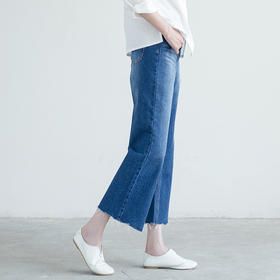 九分牛仔裤磨白微喇叭裤