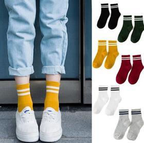 【袜子】 两条杠学院风全棉中筒女袜 运动百搭女袜 | 基础商品