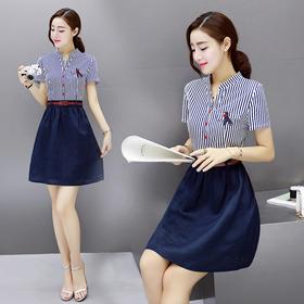 衬衫领短袖短裙假两件条纹连衣裙 货号XMYR9969