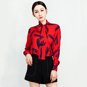时尚长袖系带印花衬衫