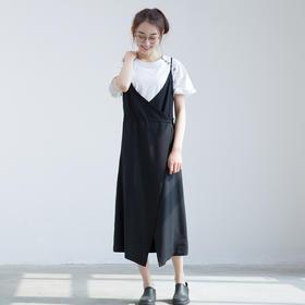 简约显瘦腰部抽绳双层吊带裙